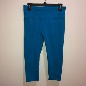PrAna Size Medium Blue Cropped Leggings, Yoga